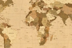 Map of the World, geography in sepia